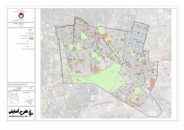 نقشه GIS کاربری های مهم و ذخایر خدماتی منطقه 15