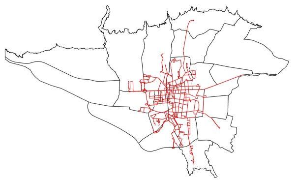 GIS خطوط اتوبوسرانی تهران