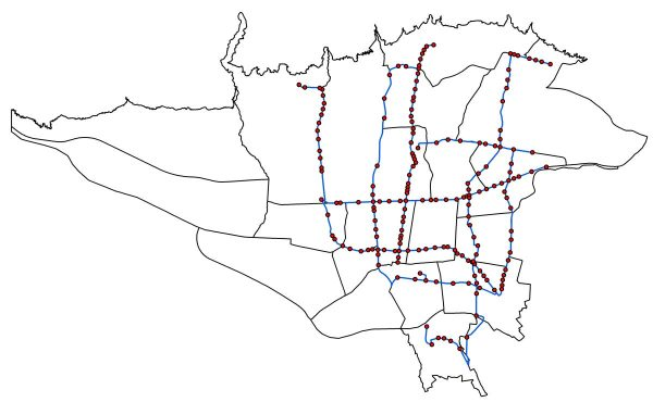 GIS خطوط BRT تهران