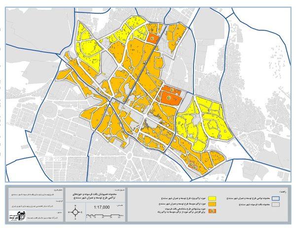 محدوده همپوشان بافت فرسوده و حوزههای تراکمی طرح توسعه و عمران شهر سنندج