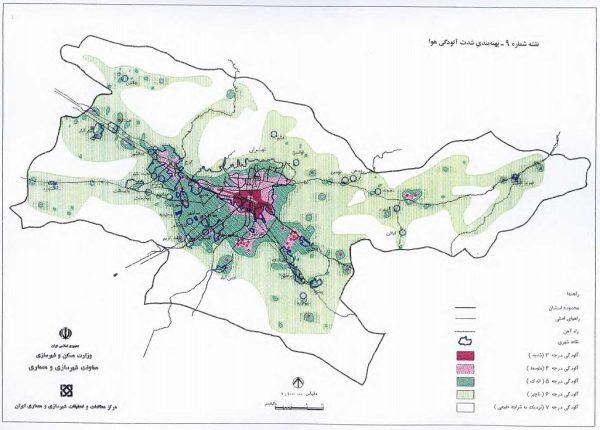 پهنه بندی آلودگی هوا مجموعه شهری تهران