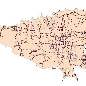 نقشه GIS حمل و نقل عمومی تهران