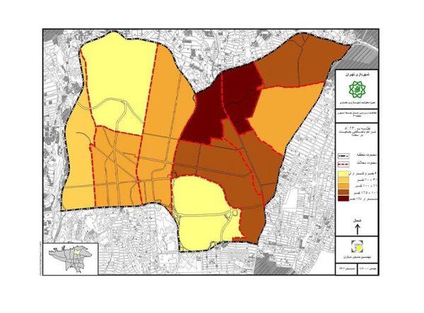 تراکم جمعیتی در محلات منطقه 3