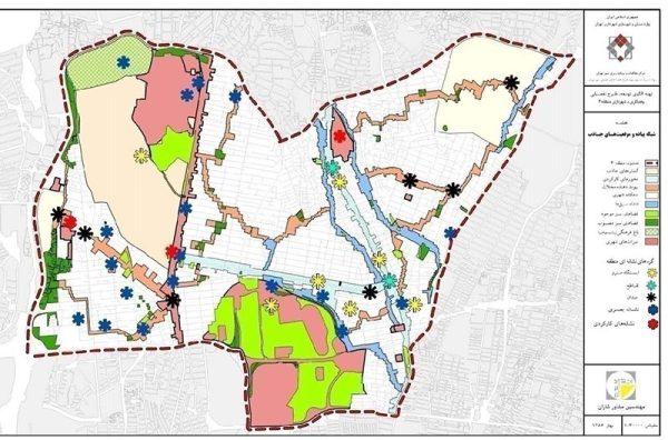 شبکه پیاده رو و موقعیت های جاذب منطقه سه